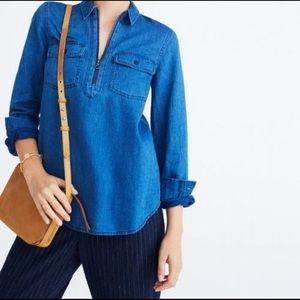 Madewell Denim Zip Pullover S